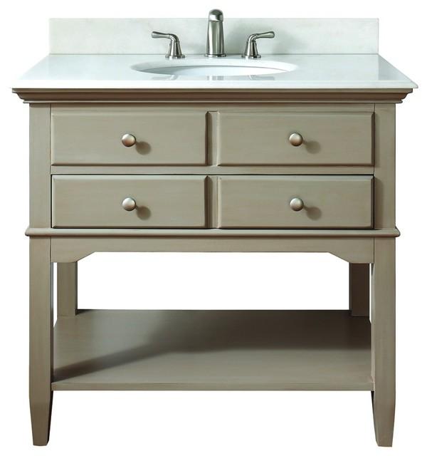 Avanity 10702vs37j Cannes 37 Vanity Set In Distressed Gray Traditional Bathroom Vanities