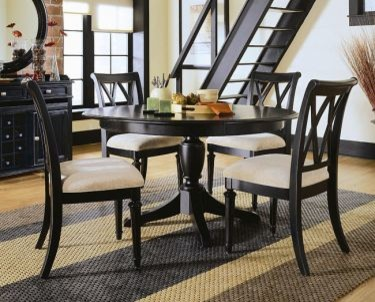 American Drew 919 701R SET Camden Black Round Dining Table Set Camden Bla