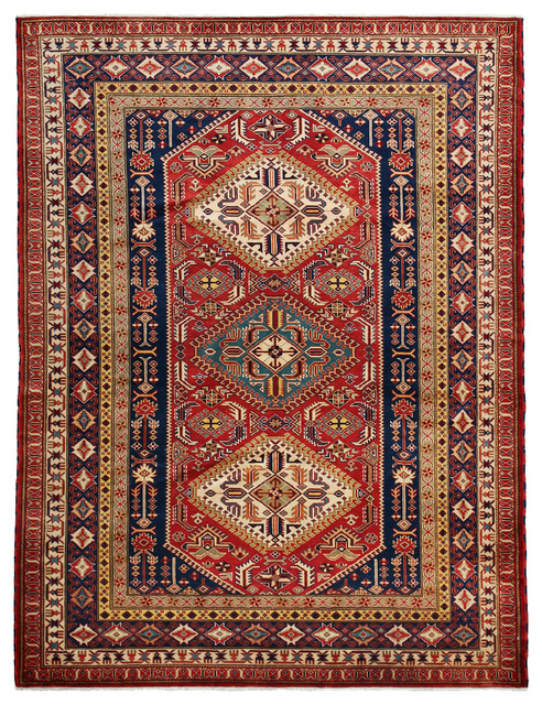 Shirvan Wool Area Rug, Red, 5x8 - Traditional - Area Rugs - by Solo Rugs