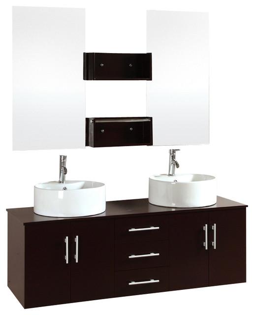 60 Modern Float Bathroom Vanity Cabinet Furniture Double Sink Modern