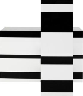 BLACK AND WHITE BLOCK STRIPE SET Modern Home Accessories Decor Ne
