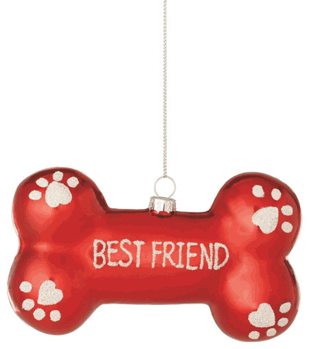 dog bone best friend christmas tree ornament