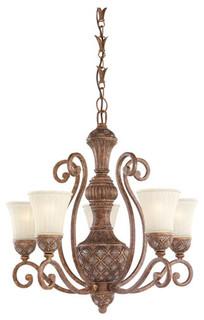 Highlands Regal Bronze Five Light Chandelier With Glass