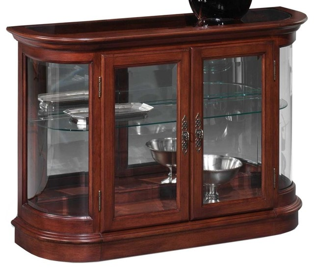 Demilune Curio Console w Mirror Back and Curv traditional-china-cabinets-and-hutches