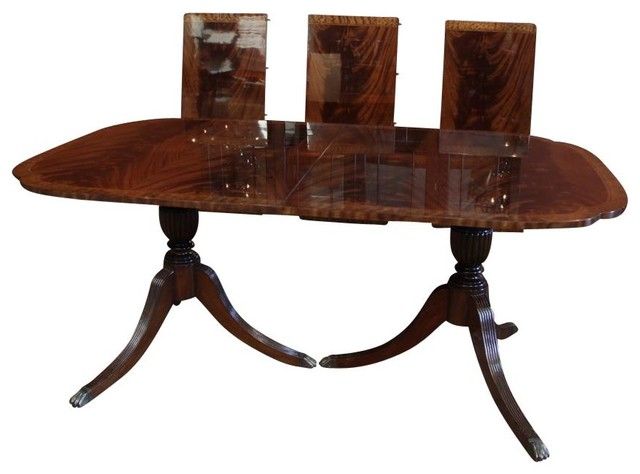 Scallop Corner Double Pedestal Inlaid Mahogany Dining Room Table Dining Tab