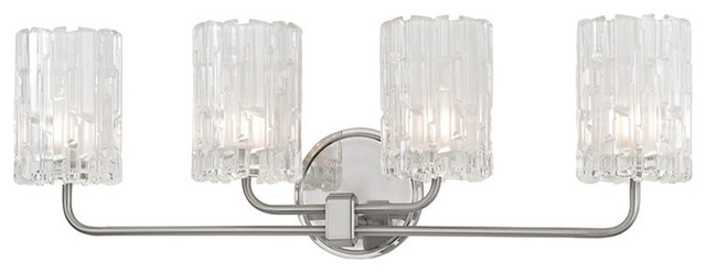 Bathroom Vanity Lights Clear Glass : Dexter, 4 Light, Bath And Vanity, Satin Nickel Finish, Clear Glass Shade - Bathroom Wall Lights ...