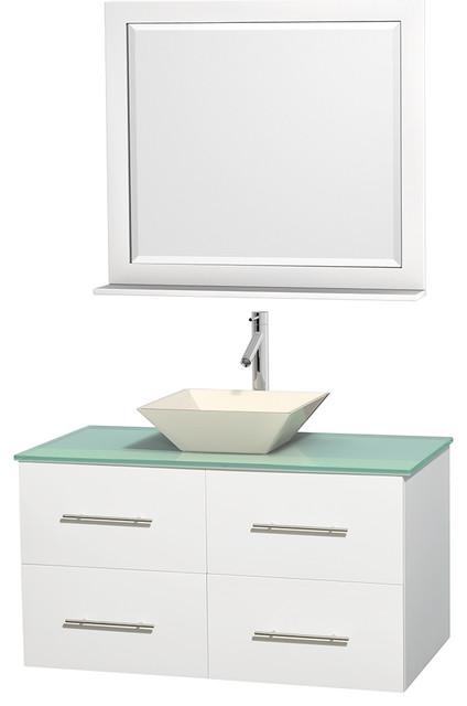 Centra 42 Matte White Vanity Green Glass Top Bone Porcelain Sink Mirror Modern Bathroom