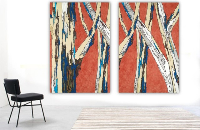 Very Large Oversized Wall Art Set Canvas Print Burnt