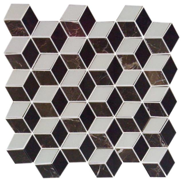 12X12 Illusion 3D Mosaic Interlocking Polished Modern