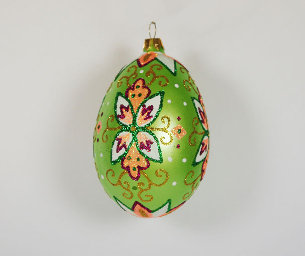 "Green ""Faberge"" Egg Hand Blown Glass Christmas Tree"