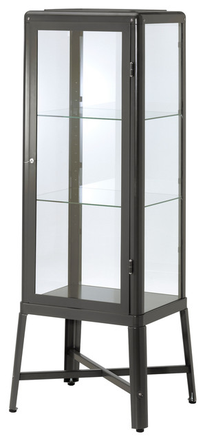 Fabrik r glass door cabinet dark gray modern accent for Ikea accent cabinet