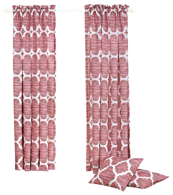 Honor Curtain and Throw Pillow Set Combo - Curtains - by BNF Home