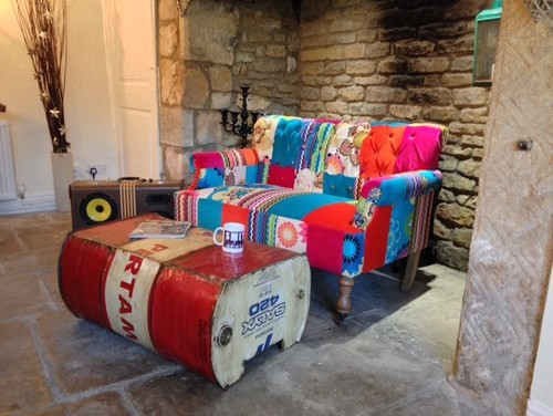 Industrial coffee table and patchwork sofa