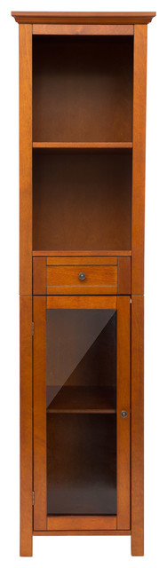 "Glitzhome 65.55""H Wooden Floor Storage Cabinet With 4-Shelves and 1-door - Modern - Storage ..."