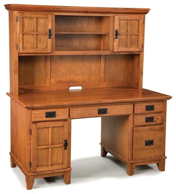 Arts And Crafts Pedestal Desk And Hutch Cottage Oak Finish