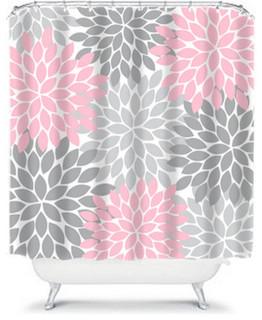 Shower Curtain Home Bathroom Decor Pink Gray Flower Burst Floral 71 X74 Contemporary