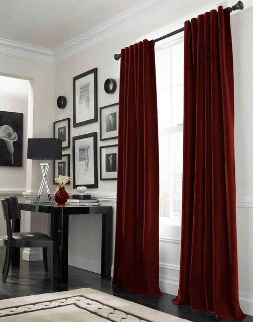 Opulent Traditional Style Formal Dining Room Furniture Set: Messina Opulent Velvet Lined Wide Width Drape, Crimson