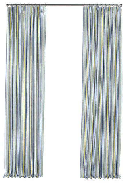 Modern Yellow And Blue Stripe Pleated Curtain Single Panel Transitional Curtains By Loom