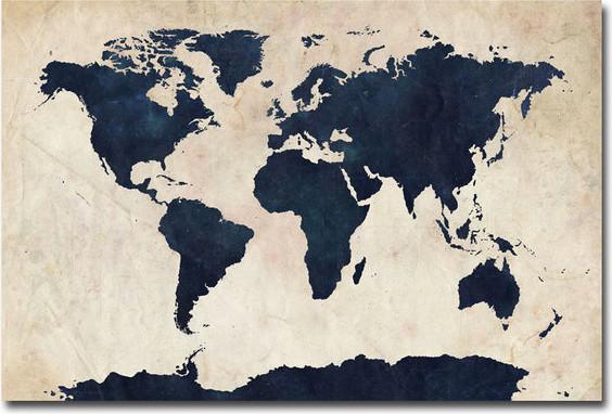 Michael Tompsett 39 World Map Navy 39 Canvas Art Contemporary Artwor