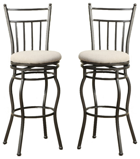 Set Of 2 Swivel Barstools Fabric Cushion Metal Frame Bar Pub Stools Dining Ch