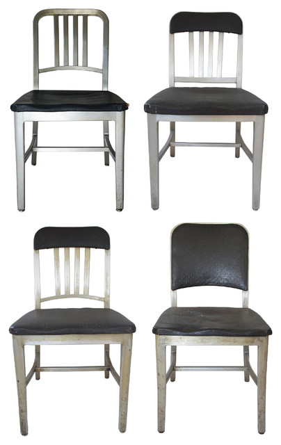 Emeco Aluminum Navy Chairs Assorted Set Of 4 Industrial Dining Chairs