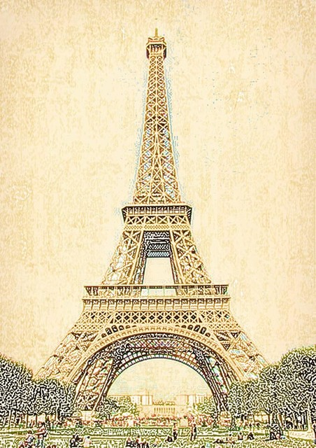 Vintage eiffel tower wall mural contemporary wallpaper for Eiffel tower mural wallpaper