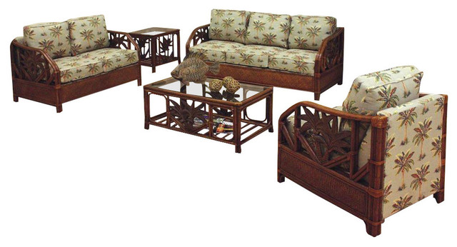 Rattan wicker 5 pc set deep seating in tc antique finish for Tropical living room furniture
