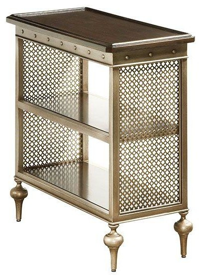 Cherry wood and metal mesh side table modern for Metal night stands bedroom