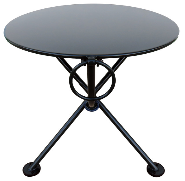 French Cafe Bistro 3 Leg Folding Coffee Table Black Green 20 Round Metal Top Contemporary