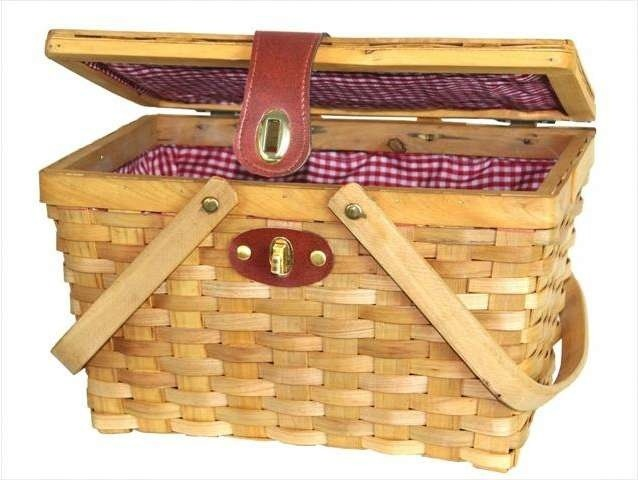 Chipwood Picnic Basket with Folding Handles, Lined With Red/White Plaid - Traditional - Picnic ...