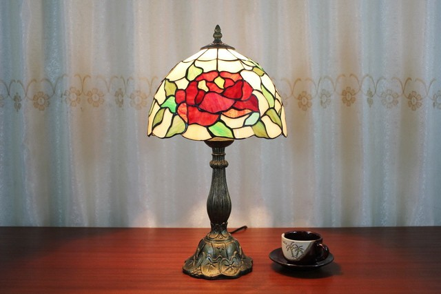 Iron Base Peony Tiffany Bedroom Table Lamps Home Lighting Traditional Table Lamps Raleigh
