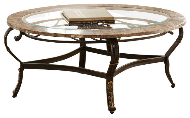 Steve Silver Galliard 3 Piece Marble Coffee Table Set With Glass Insert Traditional Coffee