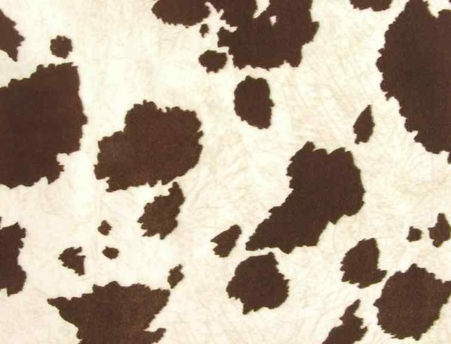 Faux Cowhide Upholstery Fabric Brown White Rustic