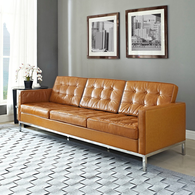Florence Style Tan Leather Loft Sofa