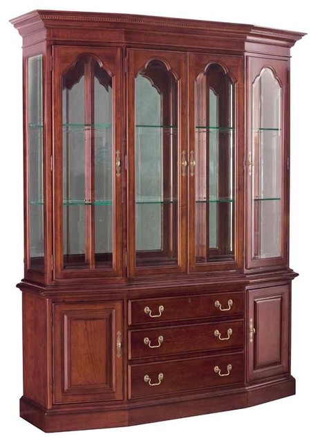 China Cabinet In Antique Cherry Finish Traditional