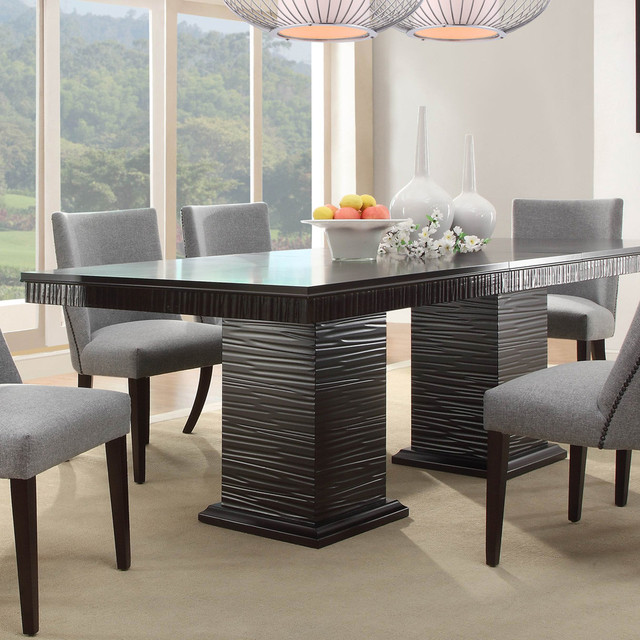 Homelegance Chicago Double Pedestal Dining Table In Deep