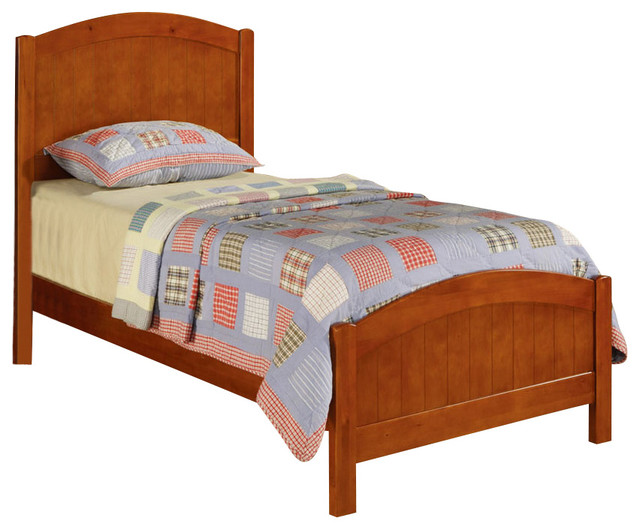 Simple design youth kids wood twin bed with arched Traditional wood headboard