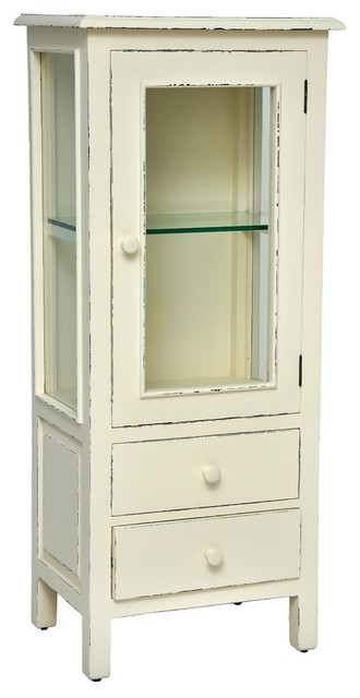 Curio Cabinet, Light Distressed Linen