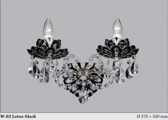 Czech Crystal Wall Lights : Bohemian Czech Crystal wall sconce flash cut black - Modern - Chandeliers - adelaide - by Murano ...