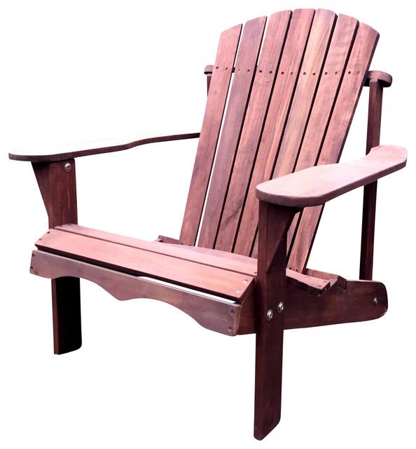 Pelican hill wood adirondack patio chair dark brown - Adirondack style bedroom furniture ...