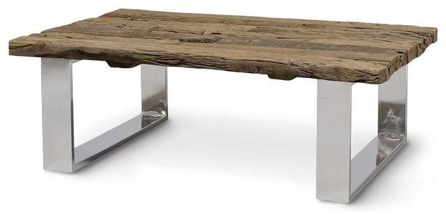 Hudson Natural Railroad Tie Industrial Loft Coffee Table Industrial Coffee Tables By Kathy