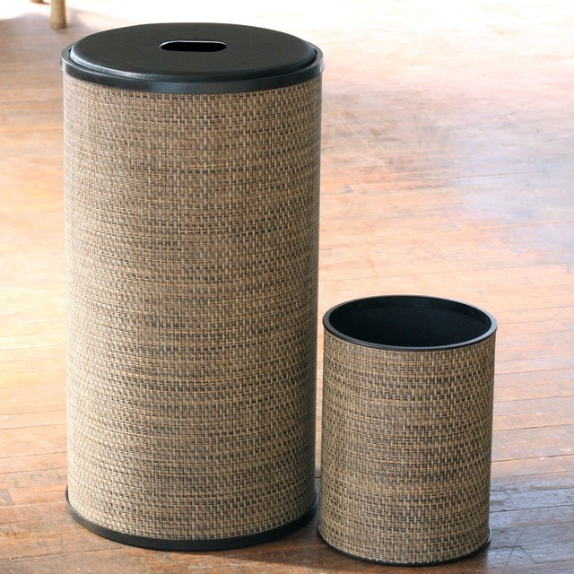 1530 lamont home multi brown roxie round hamper and for Bathroom wastebasket sets