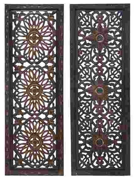 Open Carvings Wood Wall Panels Set Of 2 Traditional Wall Decor