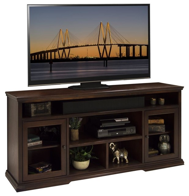 73.75 in. Tall TV Cabinet in Danish Cherry Finish - Transitional - Entertainment Centers And Tv ...