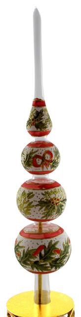 Traditional Glass Christmas Tree Ornaments : Quot graz glass christmas tree topper traditional