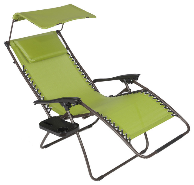 Pacific zero gravity chair with canopy and tray green for Chaise zero gravite