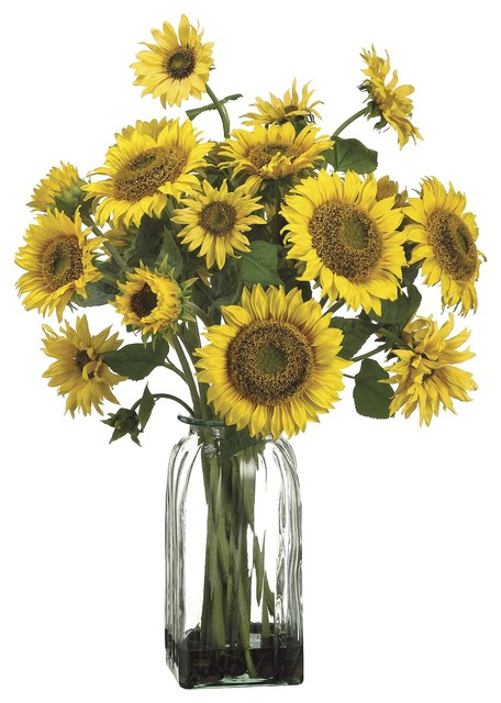 sunflowers bouquet silk arrangement in a ribbed clear glass vase farmhouse artificial flower