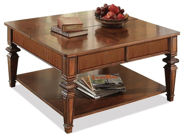 Square Lift Top Cocktail Table With Shelf Traditional Coffee Tables By Shopladder