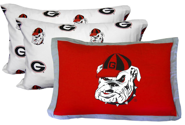 Ncaa georgia bulldogs pillowcase set white bed accessories for Georgia bulldog bedroom ideas