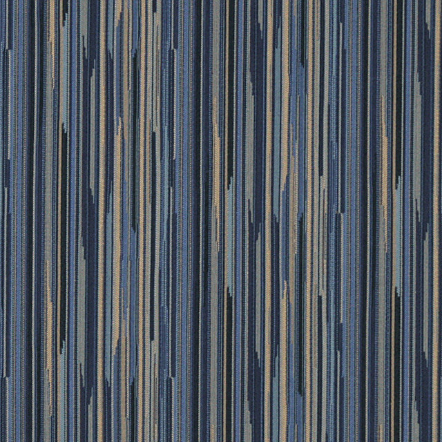 Navy Blue Gold Abstract Striped Contract Grade Upholstery